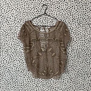 Free People Beaded Sheer Blouse